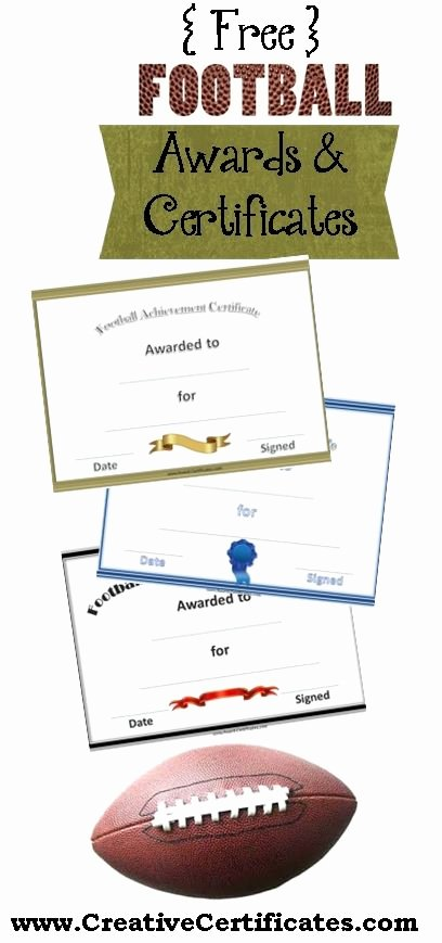 Fantasy Football Certificate Template New Free Printable Football Certificates and Awards
