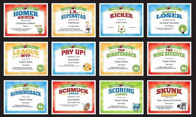 Fantasy Football Certificate Template Unique Fantasy Football Certificates