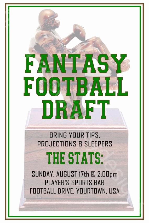 Fantasy Football Draft Template Inspirational Fantasy Football Draft 4x6 Printable Invitation