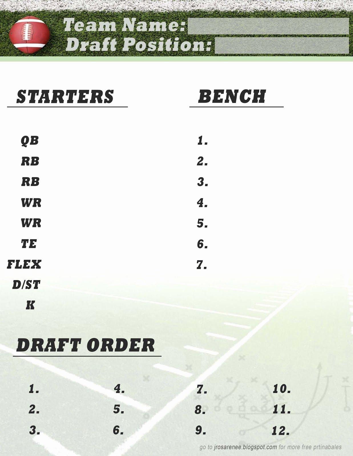 Fantasy Football Draft Template Inspirational Freebie Friday Fantasy Football Roster Free Printable