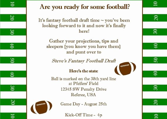 Fantasy Football Draft Template Luxury Fantasy Football Superbowl Birthday Party Printable Invitation