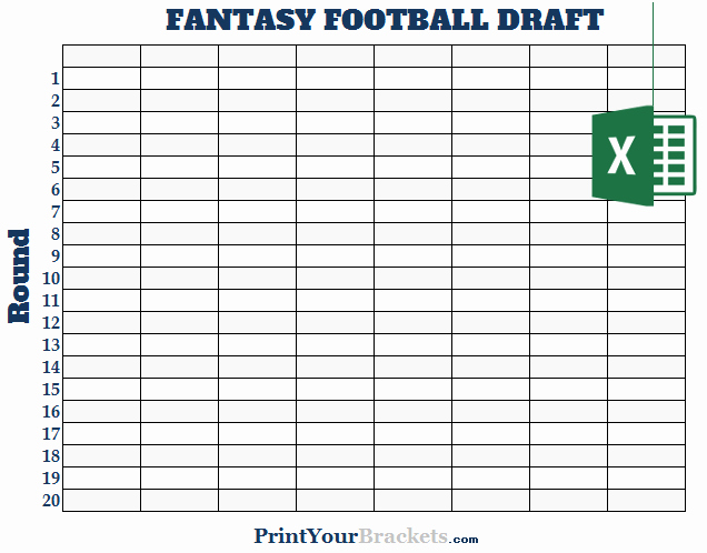 Fantasy Football Draft Template Unique Excel 8 Team Fantasy Football Draft Board Editable