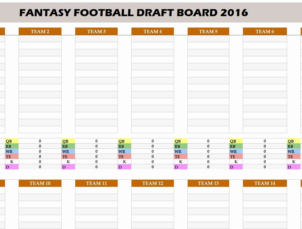 Fantasy Football Spreadsheet Template Awesome Fantasy Football 2016 Draft Board My Excel Templates