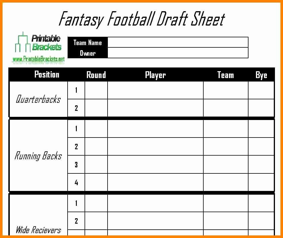 Fantasy Football Spreadsheet Template Inspirational Fantasy Football Draft Spreadsheet Template