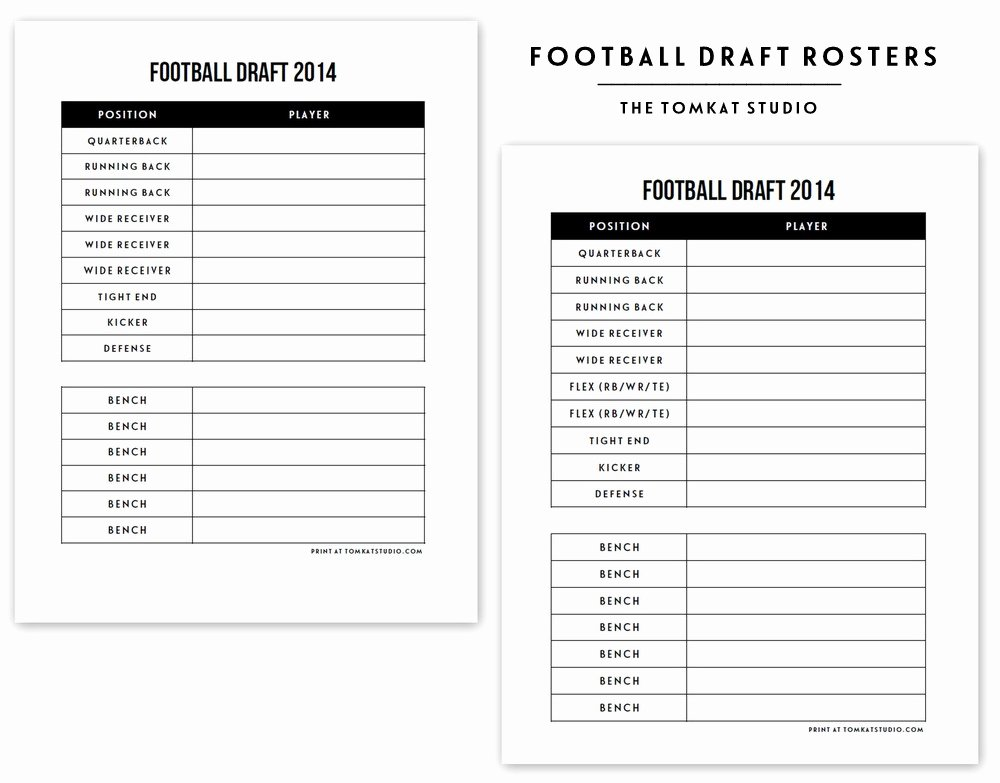 Fantasy Football Spreadsheet Template Luxury Free Printable Football Roster
