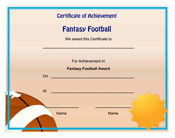 Fantasy Football Winner Certificate Best Of Fantasy Football