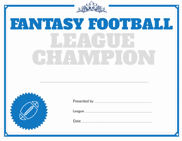 Fantasy Football Winner Certificate Fresh Printable Fantasy Football League Champion Award Certificate