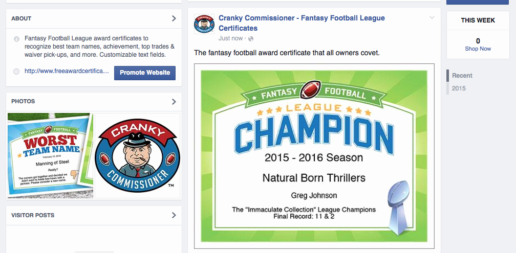 Fantasy Football Winner Certificate Lovely Fantasy Football Award Certificates
