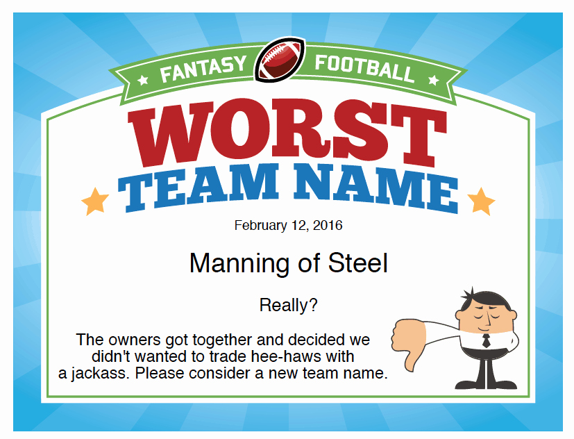Fantasy Football Winner Certificate New Funny Fantasy Football Team Names 2016