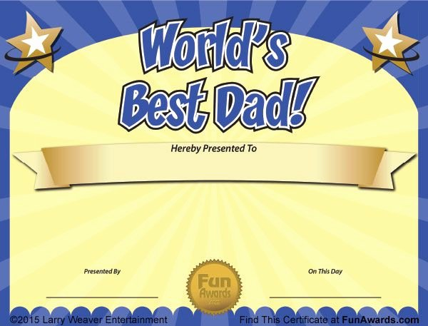 Father Of the Year Certificates Inspirational World S Best Dad Free Father S Day Certificate From
