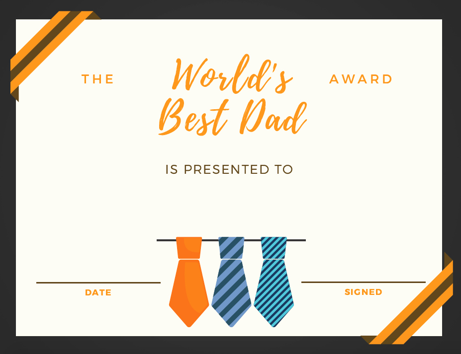 Father's Day Award Certificates Fresh Father S Day Letter and Award Certificate for Dad