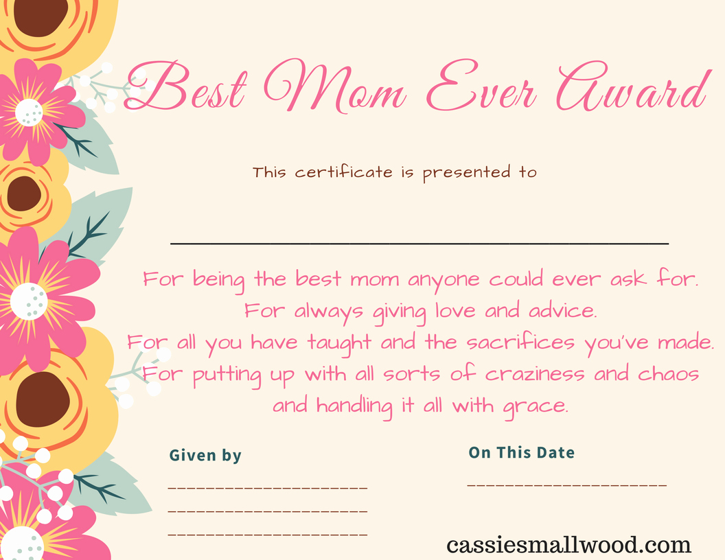 Father's Day Award Certificates Luxury Free Mother S Day Printable Certificate Awards for Mom and