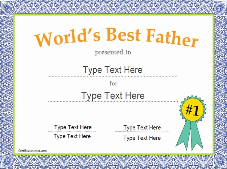 Father's Day Award Certificates Luxury Special Certificate Father S Day Certificate