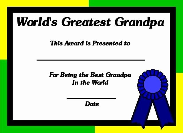 Father's Day Award Certificates Unique Printable Certificates for Grandpa World S Greatest