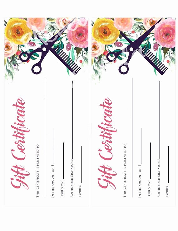 Father's Day Gift Certificate Template Beautiful Printable Hair Salon Gift Certificate Template Hair