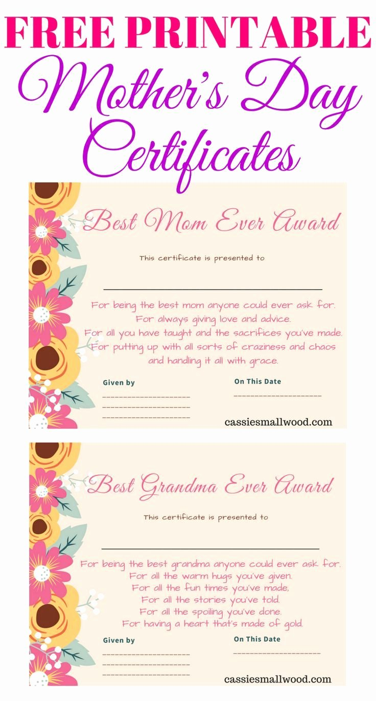 Father's Day Gift Certificate Template Fresh Free Mother S Day Printable Certificate Awards for Mom and