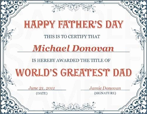 Father's Day Gift Certificate Template New Free Printable World S Greatest Dad Certificate