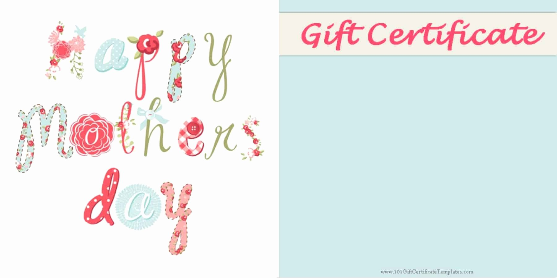 Father's Day Gift Certificate Template Unique Mother S Day Gift Certificate Templates