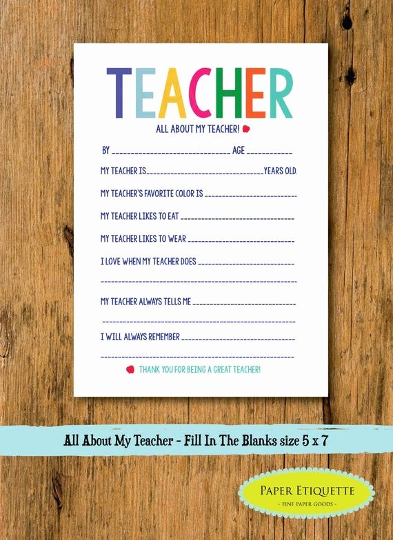 Fill In the Blank Printables Beautiful All About My Teacher Teacher Appreciation End Of Year