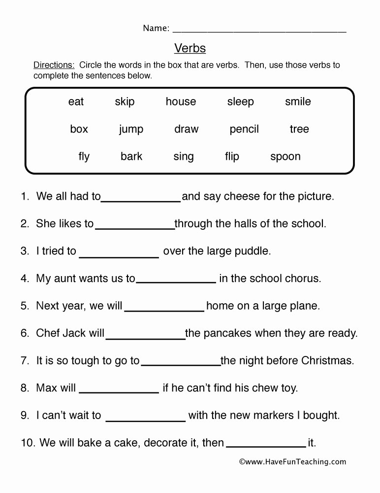 Fill In the Blank Printables Best Of Verb Worksheet 1 Fill In the Blanks