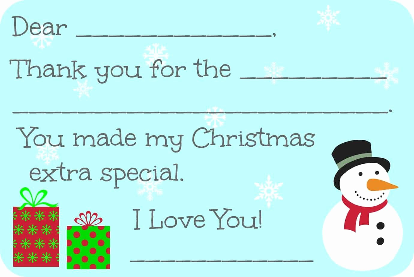 Fill In the Blank Printables Fresh Fill In the Blank Christmas Thank You Cards Free Printable