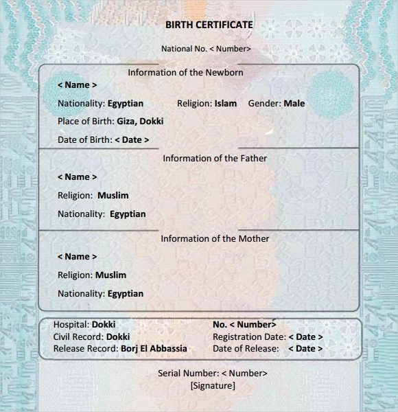 Fillable Birth Certificate Template Inspirational Free 12 Birth Certificate Templates In Free Examples