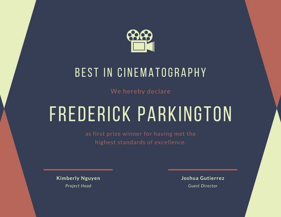 Film Festival Award Certificate Template New Customize 126 Award Certificate Templates Online Canva