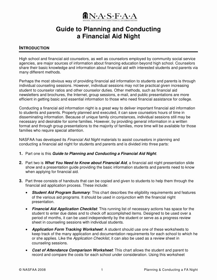 Financial Need Letter Beautiful Guide to Planning and Conducting A Financial Aid Night