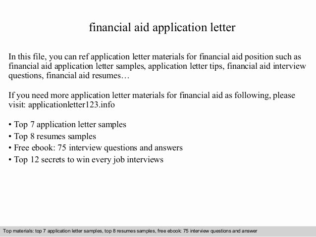 Financial Need Letter Elegant Financial Aid Application Letter