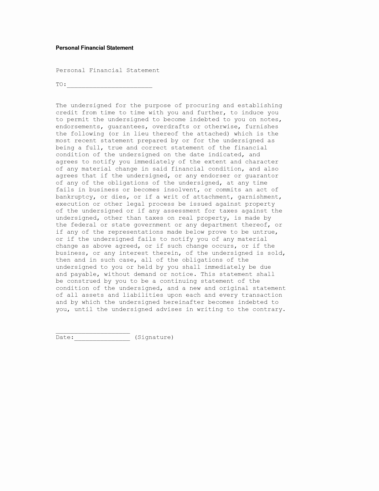 Financial Statement Letter Fresh Personal Financial Statement Purpose Well Liked