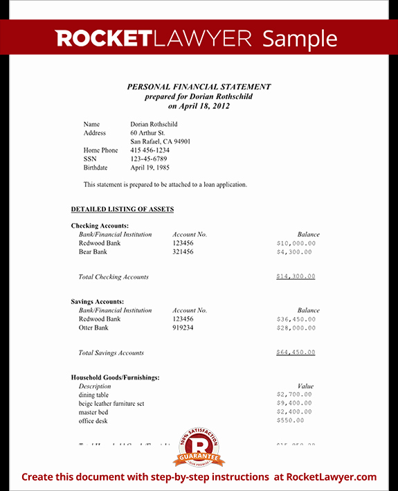 Financial Statement Letter Sample Unique Personal Financial Statement Representation Letter
