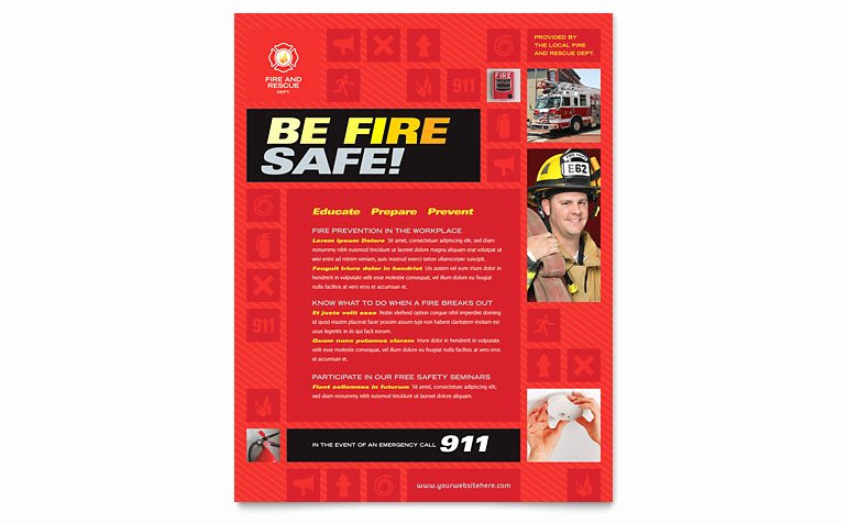 Fire Safety Certificate Template Luxury Fire Safety Flyer Template Word & Publisher