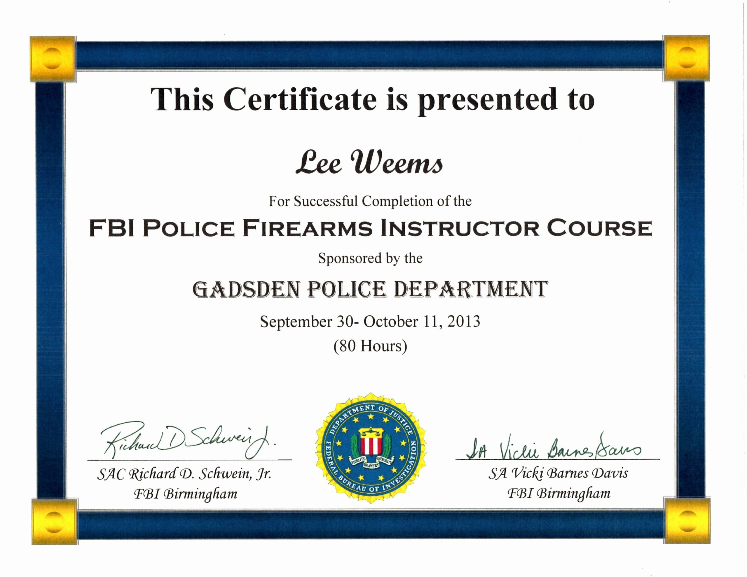 Firearms Training Certificate Template Awesome Fbi Police Firearms Instructor Course