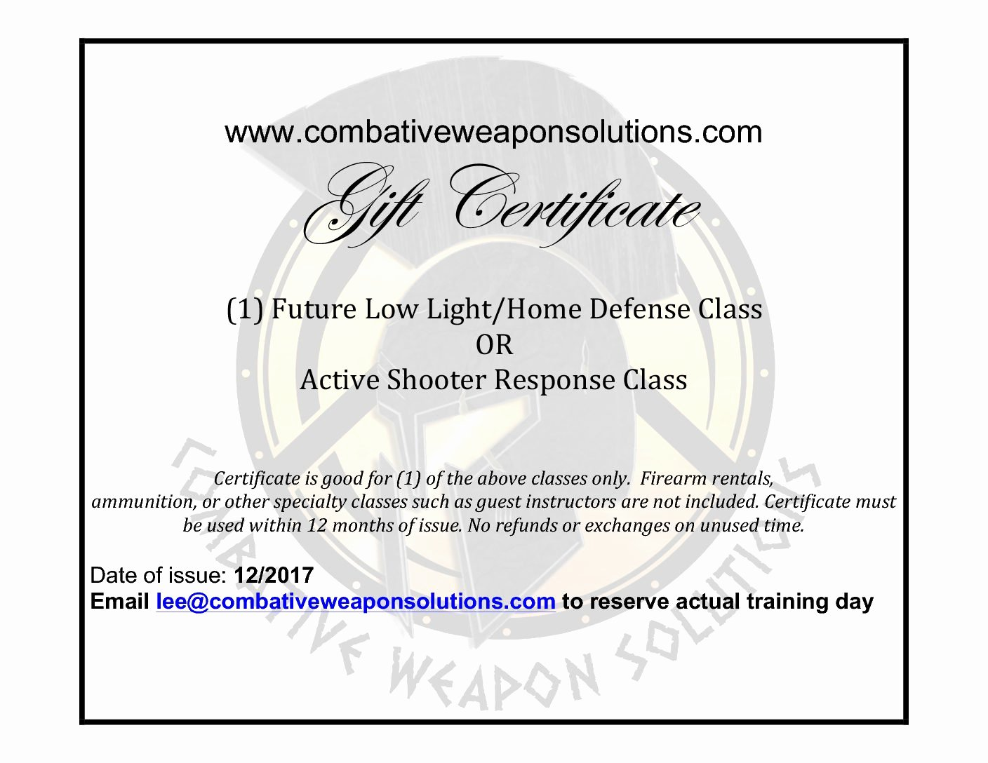 Firearms Training Certificate Template Awesome Gift Certificate asr Ll Home Defense