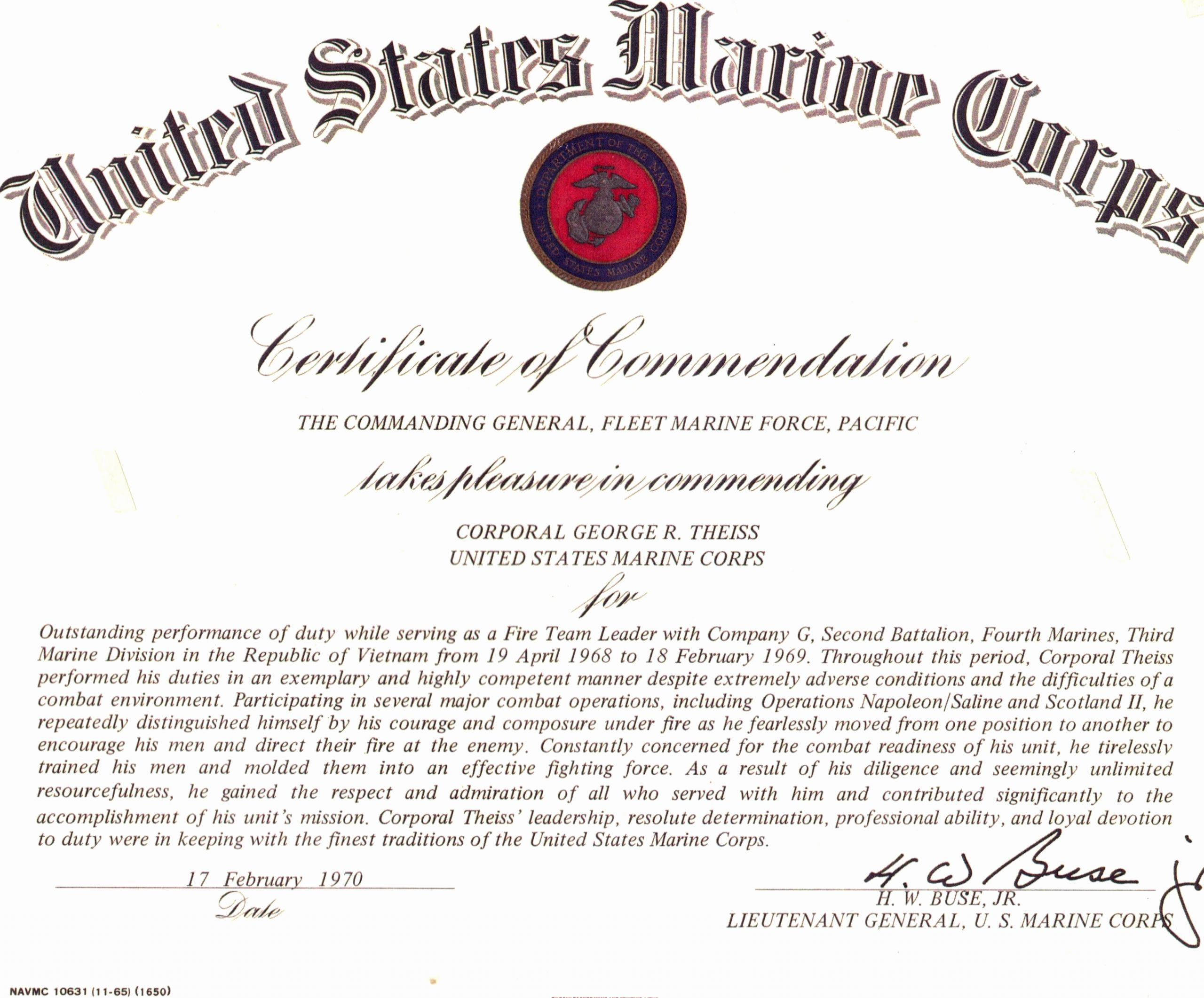 Firearms Training Certificate Template Best Of Usmc Certificate Of Mendation for George theiss