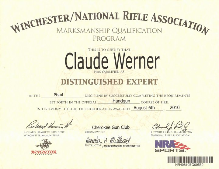 Firearms Training Certificate Template Lovely Nra Marksmanship Qualification Program Pdf Download