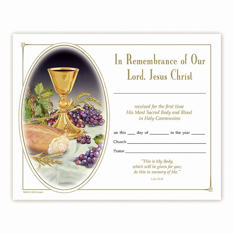 First Communion Certificate Template Awesome Body Of Christ First Munion Certificate 100 Pk
