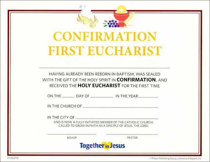 First Communion Certificate Template Beautiful to Her In Jesus Confirmation with First Eucharist 2018