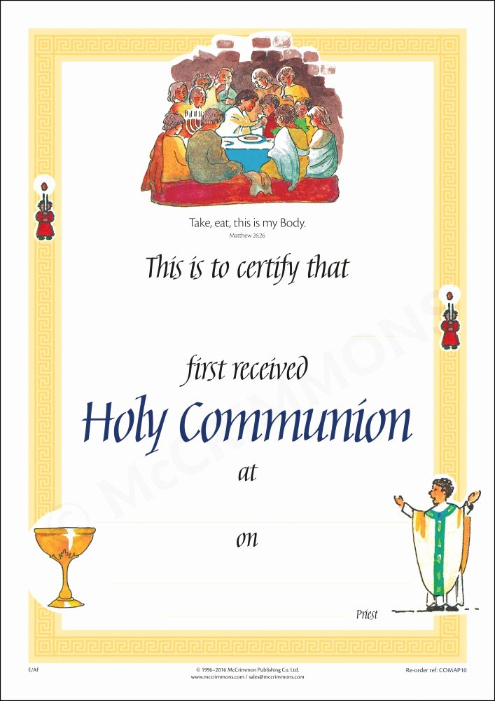 First Communion Certificate Template Best Of Certificate First Holy Munion A4