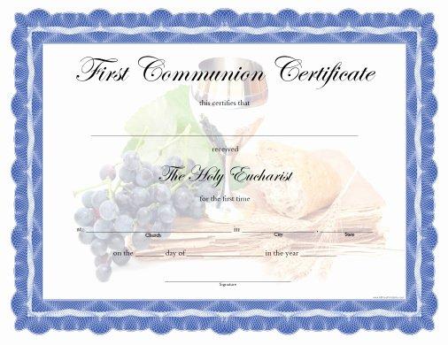 First Communion Certificate Template Fresh First Munion Certificate Free Printable