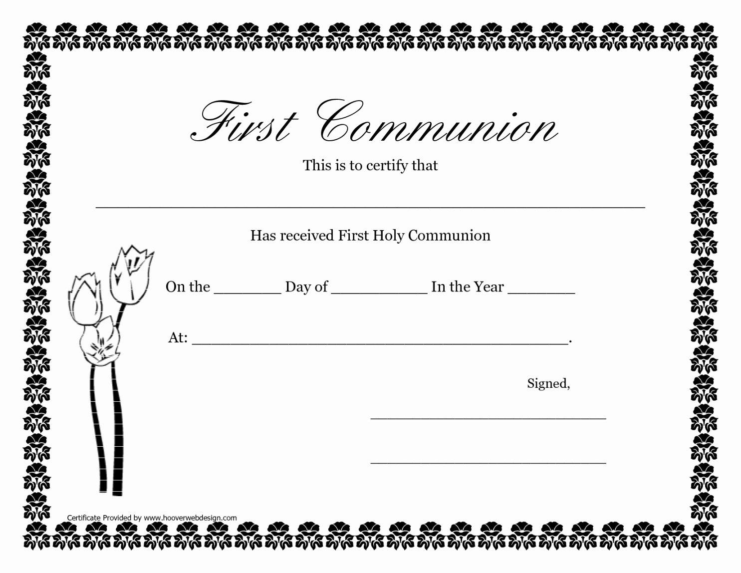 First Communion Certificate Template Inspirational First Munion Certificate Template