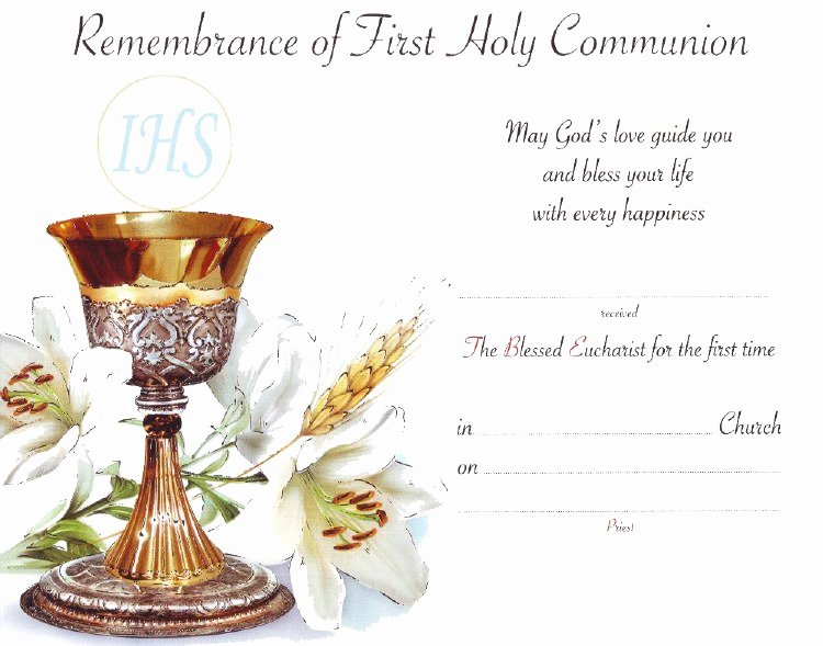 First Communion Certificate Template Lovely First Holy Munion Certificate Veritas