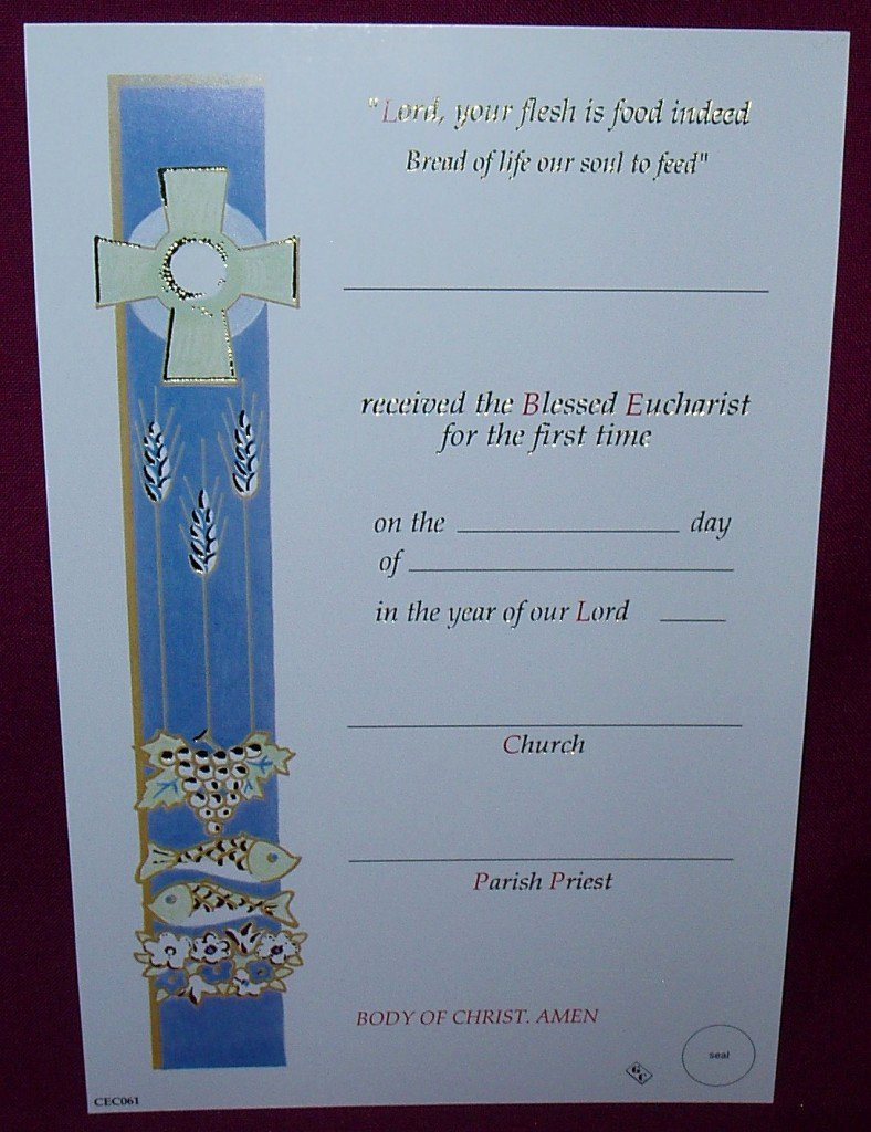 First Communion Certificate Template Unique Cec061 First Holy Munion Certificate
