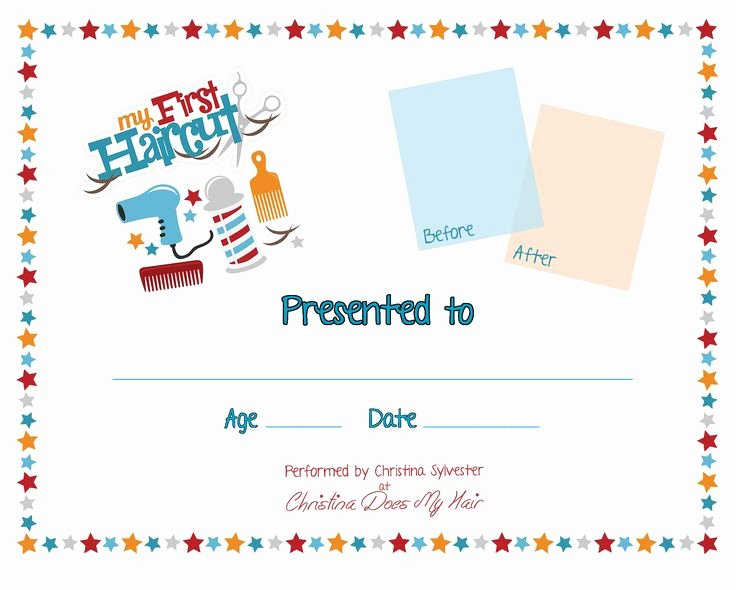 First Haircut Certificate Free Template Beautiful First Haircut Certificate Pesquisa Google