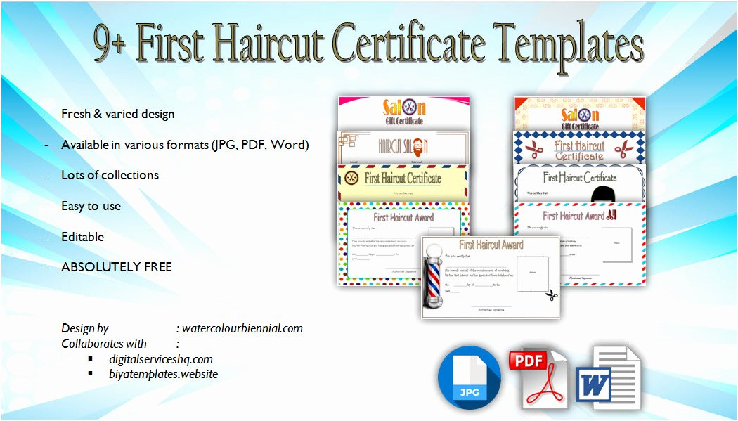 First Haircut Certificate Free Template Elegant First Haircut Certificate Template [9 Cute Designs Free