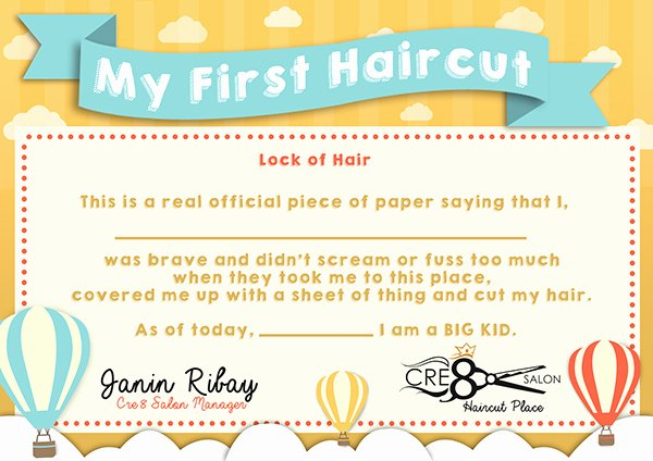First Haircut Certificate Free Template Fresh Kid S First Haircut Certificate On Behance