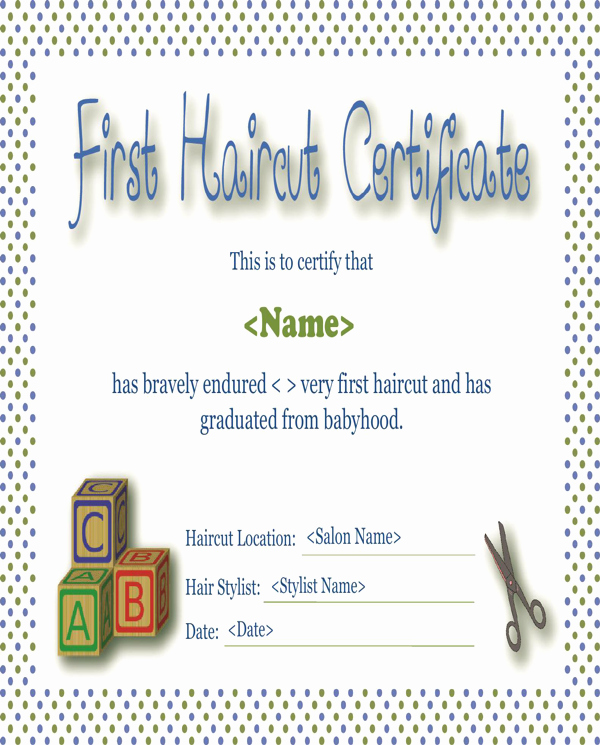 First Haircut Certificate Free Template Inspirational Download First Haircut Certificate for Free formtemplate