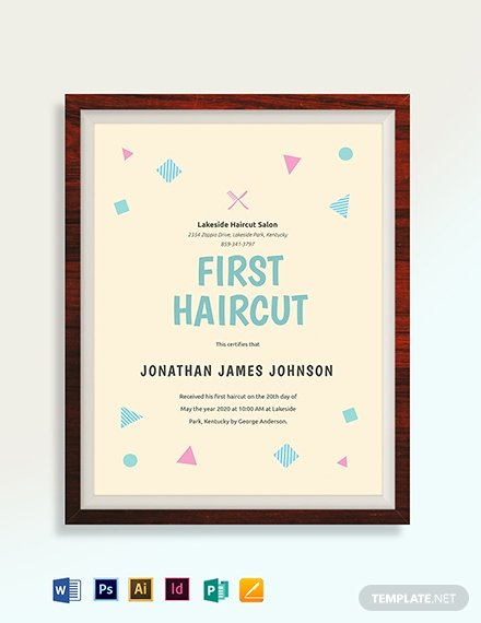 First Haircut Certificate Free Template Lovely Modern Certificate Template Download 206 Certificates In