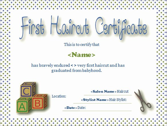 First Haircut Certificate Free Template Unique Word Certificate Template 49 Free Download Samples