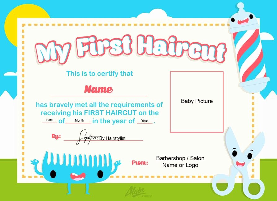 First Haircut Certificate Template Awesome First Haircut Certificate Baby Haircut Certificate 8x10